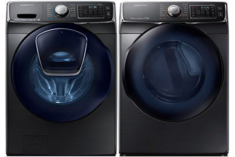 Samsung Mega Capacity Steam HE Front Load Laundry System with Innovative Add-A-Wash Door and GAS Dryer (WF50K7500AV + DV50K7500GV) Alluring Black Stainless Steel