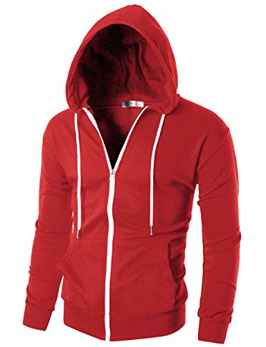 Ohoo Mens Slim Fit Long Sleeve Lightweight Zip-up Hoodie with Kanga Pocket/DCF002-RED-XL -