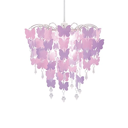 Easy fit universal pink butterflies light decoration ceiling lamp easy fit universal pink butterflies light decoration ceiling lamp chandelier pendant amazon kitchen home mozeypictures Gallery