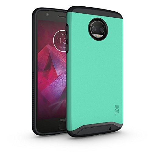 Moto Z2 Force Case, TUDIA Slim-Fit Heavy Duty [Merge] Extreme Protection/Rugged but Slim Dual Layer Case for Motorola Moto Z Force (2nd Generation), Moto Z2 Force Droid Edition (Mint)