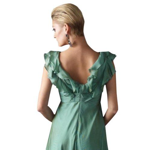 BRIDE Mantel Chiffon GEORGE bodenlangen Ausschnitt Abendkleid Spalte V Tuerkis pqHdvFw
