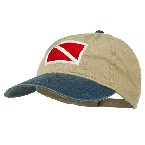 (e4Hats.com Scuba Dive Flag Embroidered Washed Pigment Dyed Cap - Navy Khaki OSFM)