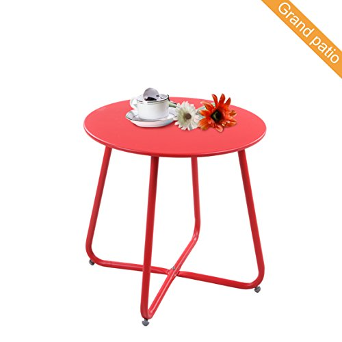 Grand patio Steel Patio Coffee Table, Weather Resistant Outdoor Side Table, Small Round End Tables, Red