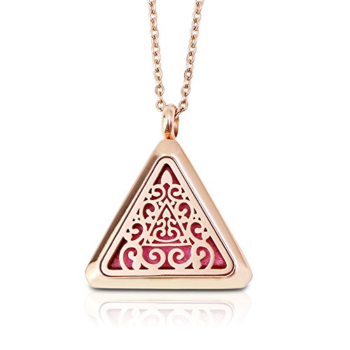 Aromatherapy Essential Oil Diffuser Necklace Stainless Steel Locket with Hypo-allergenic Stainless Steel Adjustable Chain(Rose Gold)