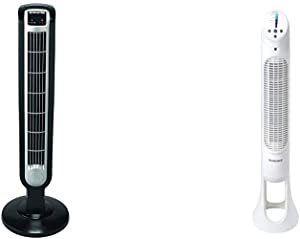 Lasko 2511 36″ Tower Fan with Remote Control - Features 3 Whisper Quiet Speeds and Built-in Timer & Honeywell Quiet Set Whole Room Tower Fan