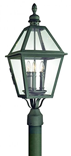 (Troy Lighting Townsend 3-Light Outdoor Post Lantern - Natural Bronze Finish with Clear Glass)