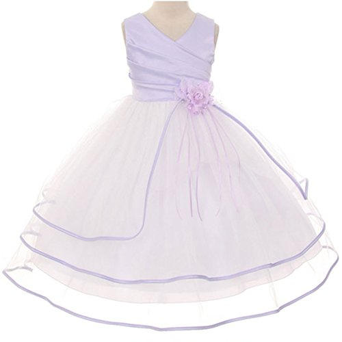 Big Girls Fabulous Surplice Satin Top Three Tiered Tulle Dress Lilac - Size 12