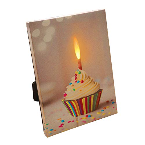 WHAT ON EARTH Record Your Own Message Cupcake Canvas with LED Candle - Art Print for Birthdays and More, 6