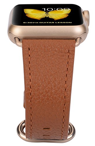 Apple Watch Band 38mm Women - PEAK ZHANG Light Brown Genuine Leather Replacement Wrist Strap with Gold Adapter and Buckle for Apple Watch Series 2/1/Edition/Sport by PEAK ZHANG (Image #3)
