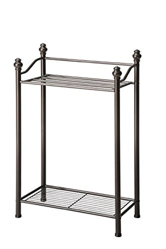 Organize It All Free Standing Bathroom Towel Storage Rack with Bottom Tier - Oil Rubbed Bronze Finish