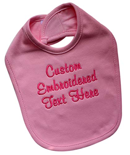 Personalized Baby Bib EMBROIDERED with Your Custom Text and Color 100% Cotton Unisex (LIGHT PINK BIB) ()