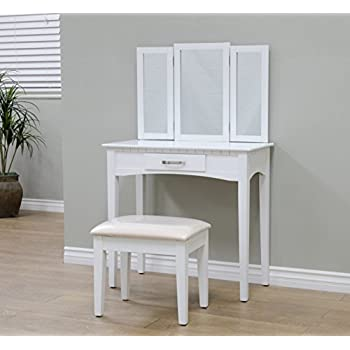 Amazon.com: White Bedroom Vanity Table with Tilt Mirror ...