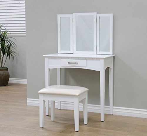Frenchi Home Furnishing 2 Piece Home Furnishing Set Vanity with Beige Stool, White