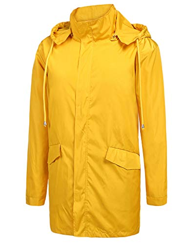 (ZEGOLO Men's Raincoats Waterproof Windbreaker Lightweight Active Outdoor Full Zip Hooded Long Rain Jacket Trench Coats Yellow)