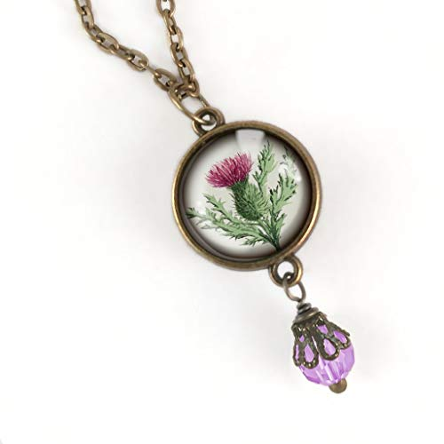 Jewellery Scottish Thistle (Thistle glass cabochon pendant necklace)
