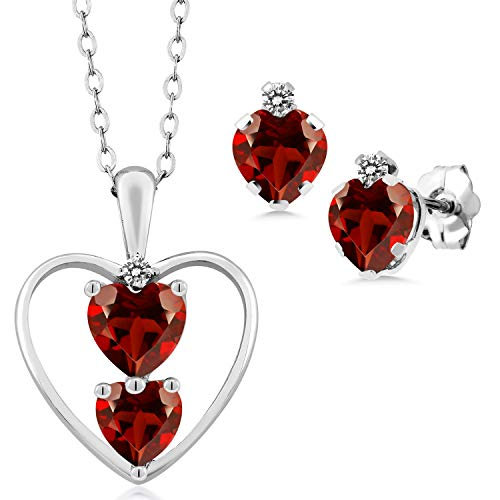 Gem Stone King 2.22 Ct Heart Shape Red Garnet 925 Sterling Silver Pendant Earrings Set
