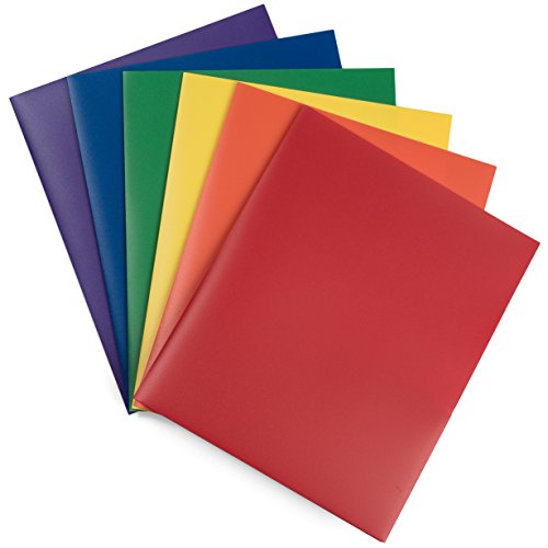 Heavy Duty Plastic 2 Pocket Folders - Set of 6 Assorted Colors (Primary Colors) - Sturdy and Waterproof File Folder for Office and School By DIY Crew