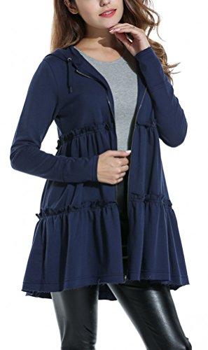Women's Ruffle Swing Coat Dress A Line Hooded Loose Zipper Long Cardigan Outwear Coats (L, Navy Blue)