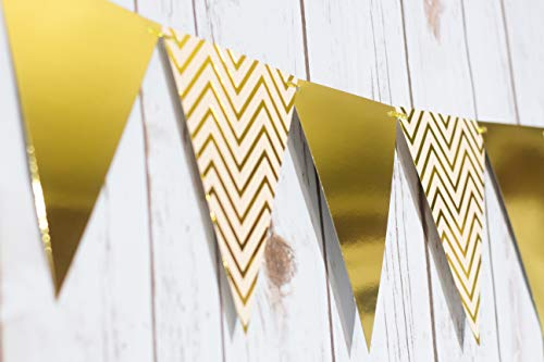Gold garland| triangle garland | triangle bunting|gold baby shower decorations|happy birthday banner foil|gold foil banner|gold anniversary decorations|bachelor party decor Christmas party -