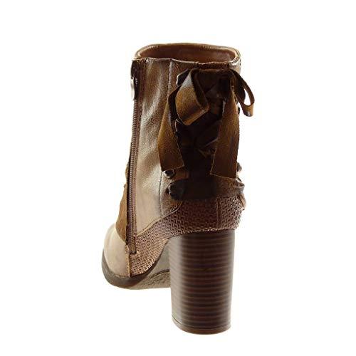 Pelliccia Angkorly Nodo Cm Stile Intrecciato Scarpe Blocco 5 Bi Cammello Alto materiale Tacco Foderato Scarponcini Classic Donna Moda A 7 Vintage Borchiati Di Stivaletti ABw7nqAr
