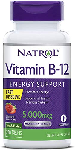 Natrol Vitamin B12 Fast Dissolve Tablets, Promotes Energy, Supports a Healthy Nervous System, Maximum Strength…