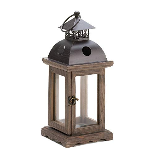 ern Candle Holder - Small Candle Lanterns for Weddings - Wall Light Decorative Weathered Finish - Hanging Wood Frame Candle Lantern - Unique Style Black Iron Top ()