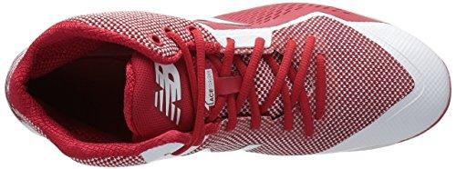 New Balance Herren M4040v4 Metall Baseball-Schuh Rot-Weiss