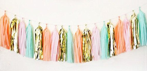 16 X Originals Group Mint Pink Gold Apricot Tissue Paper Tassels for Party Wedding Gold Garland Bunting Pom Pom by...