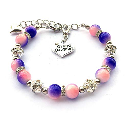 (DOLON Pink with Purple Two Tone Simulated Pearl Beads Bracelet Jewelry for Granddaughter Xmas Birthday Graduation Gift)