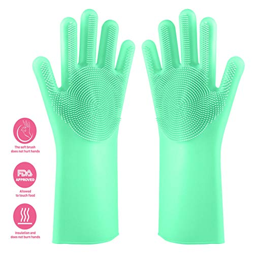 (NIROLLE Reusable Silicone Dishwashing Gloves, Pair of Rubber Scrubbing Gloves for Dishes, Wash Cleaning Gloves with Sponge Scrubbers for Washing Kitchen, Bathroom, Car & More (Green))