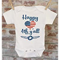 318efa8e752d9 Happy 4th Y'All Onesie, Patriotic Baby Clothes, Merica Outfit, Military Baby