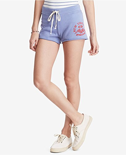 Denim & Supply Ralph Lauren Women's Graphic NYC Eagle French Terry Cotton Shorts Lakeside Blue (Nyc Eagle)