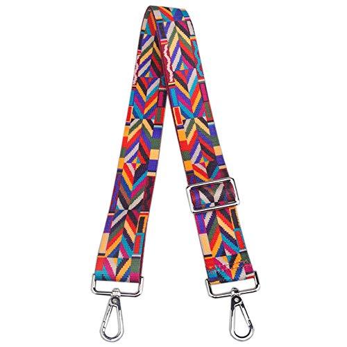 Wide Shoulder Strap Adjustable Replacement Belt Guitar Style Cross body Handbag Purse Strap (Silver Hook-Colorful)