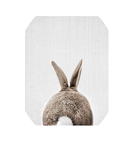 Dave-Coffey-Decorative paintings Kawaii Rabbit Tail Bunny Canvas Painting Nursery Wall Art Animal Poster Print Nordic Woodland Picture Baby Girls Room Home Decor,50X70Cm No Frame,Rabbit -