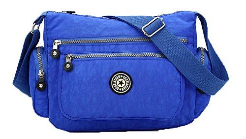 AgooLar Mujeres Cremalleras Moda Bolsos Cruzados Casual Bolsas de asa Superior Azul