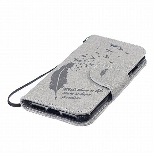 Yiizy Apple IPhone 7 / 7S Hülle, Feather Prägung Entwurf PU Ledertasche Klappe Beutel Tasche Leder Haut Schale Skin Schutzhülle Cover Case Stehen Kartenhalter Stil Bumper Schutz (Grau)