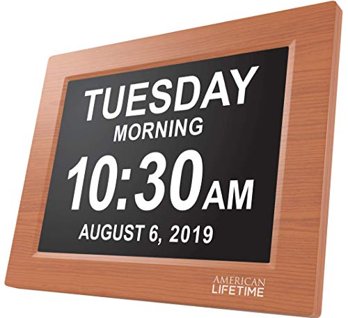 American Lifetime [Newest Version] Day Clock – Extra Large Impaired Vision Digital Clock with Battery Backup & 5 Alarm Options (Brown Wood Color)