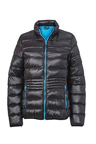 JN1063 Ladies' Winter Down Jacket Leichte Daunenjacke mit Stehkragen in sportlichem Style, Größe:XXL;Farbe:Black-Pacific