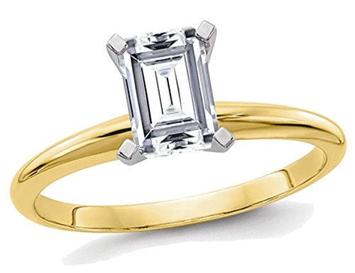 (1.00 Carat (ctw) Emerald Cut Synthetic Moissanite Solitaire Engagement Ring in 14K Yellow Gold)