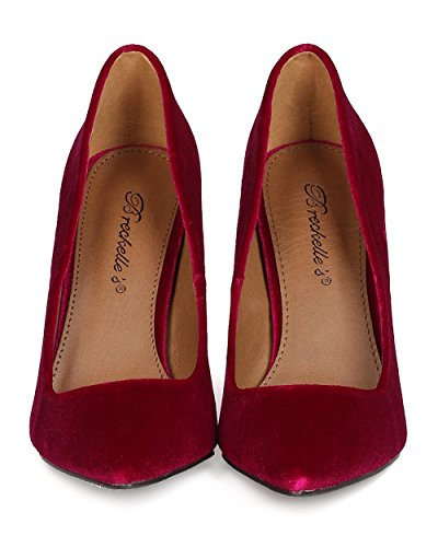 Breckelles GA29 Women Velvet Pointy Toe Stiletto Pump Wine qad1eHFrh