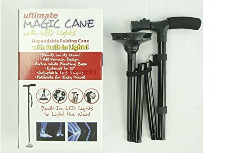 Ultra-light Magic Foldable Trusty Cane with Built-in 6 Lights Walking Cane