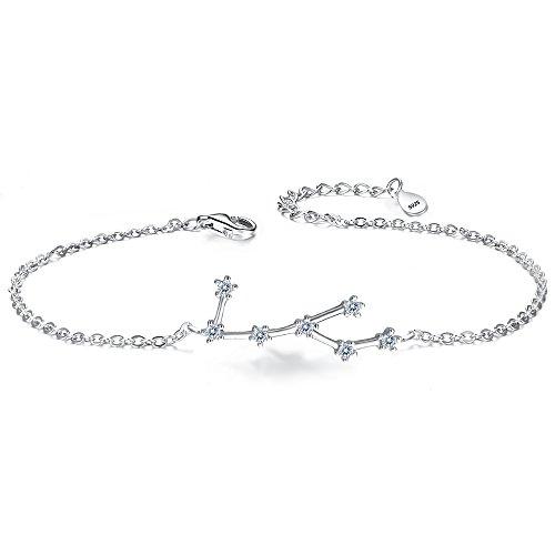 Silver Bracelet -Virgo Constellation Zodiac 12 Horoscope Astrology Women CZ Link Bracelet Clear April Birthstone ()