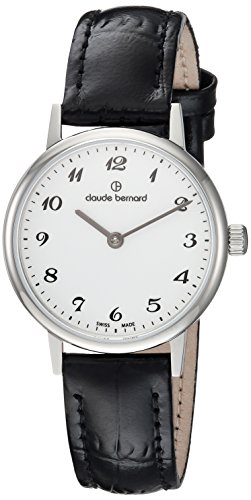 Claude Bernard womens 20215 3 BB Slim Line Analog Display Swiss Quartz Black Watch
