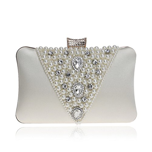 Lwzy Bag Evening Bag Clutch Pearl Hand Shoulder Chain Including White Rice