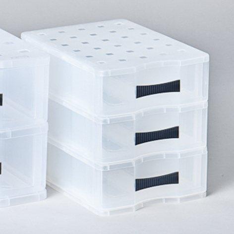 Schubladenbox Quadrix A5 3 Schübe fl/tr Rotho