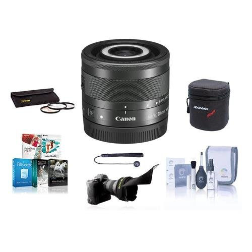 Lens Pouch Cleaning Kit Canon EF-M 28mm f//3.5 Macro is STM Lens Bundle with 43mm UV Filter Capleash II
