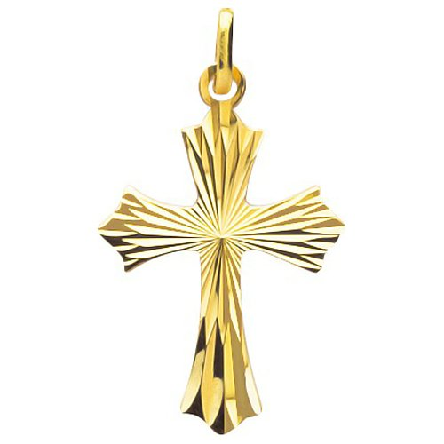 So Chic Bijoux © Pendentif Croix Christ Jésus Crucifix Style Médiéval Effet Diamanté Or Jaune 750/000 (18 carats)