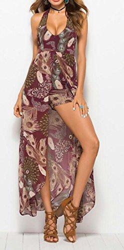 Lunga Vino Stampa Elegante collo Di Vestito Cromoncent Floreale Spiaggia Alta Fessura Rosso Womens V fwn88g