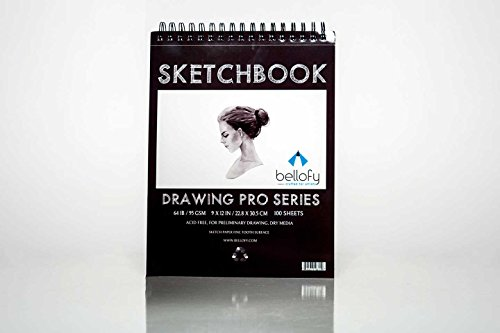 Bellofy 9x12-Inch Spiral-Bound Sketchbook for Artists| 100 Sheets for Sketching and Drawing | 64 IB 95 GSM |Micro-Perforated & Acid Free