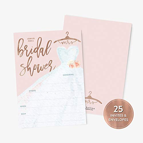 25 Bridal Shower Invitation with Envelopes, Rose Gold Modern Calligraphy and Wedding Dress Bridal Shower Invitation, Fill-in Style Invitation ()